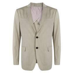 Salvatore Ferragamo Beige Cotton Regular Fit Giacca Blazer L