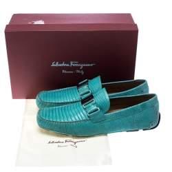 Salvatore Ferragamo Aqua Green Lizard Sardegna Loafers Size 44