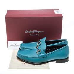 Salvatore Ferragamo Blue Leather Mason Gancio Bit Loafers Size 43.5