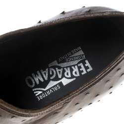 Salvatore Ferragamo Light Brown Ostrich Leather Gris Oxfords Size 41