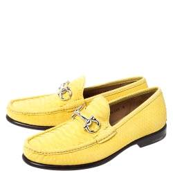 Salvatore Ferragamo Yellow Python Mason Horsebit Slip On Loafers Size 42