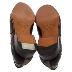Salvatore Ferragamo Brown Ostrich Leather Francesina Lace Up Oxfords Size 43