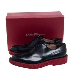 Salvatore Ferragamo Black Brogue Leather Thierry Oxfords Size 44
