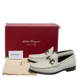 Salvatore Ferragamo White Leather Gancini Bit Loafers Size 42.5