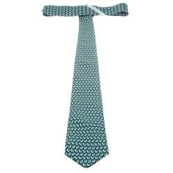 Salvatore Ferragamo Green Cat and Mouse Printed Silk Traditional Tie