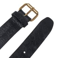 Salvatore Ferragamo Gancio Embossed Leather Buckle Belt 110CM