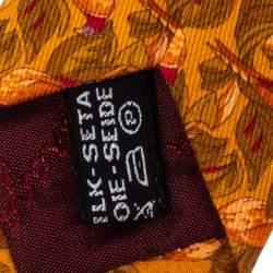 Salvatore Ferragamo Orange Bird printed Silk Tie