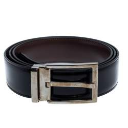 Salvatore Ferragamo Black/Brown Glossy Leather Classic Buckle Reversible Belt 115CM