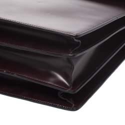 Salvatore Ferragamo Burgundy Leather Briefcase