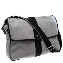 Salvatore Ferragamo Grey/Black Canvas and Leather Flap Messenger Bag