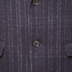 Salvatore Ferragamo Black Cotton Wool Checked Tailored Blazer L