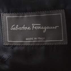 Salvatore Ferragamo Navy Blue Mini Houndstooth Patterned Velvet Blazer L
