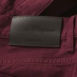 Salvatore Ferragamo Burgundy Washed Denim Straight Fit Jeans M