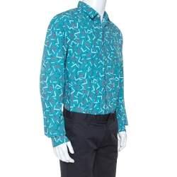 Salvatore Ferragamo Multicolor Cactus Printed Cotton Long Sleeve Shirt XL