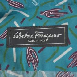 Salvatore Ferragamo Multicolor Cactus Printed Cotton Long Sleeve Shirt XL
