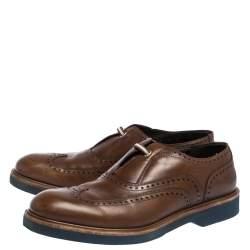 Salvatore Ferragamo Brown Brogue Leather Oxford Size 42