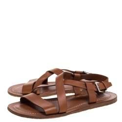 Salvatore Ferragamo Brown Leather Strappy Buckle Flat Sandals Size 42.5