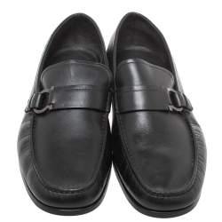 Salvatore Ferragamo Black Leather 'Ponza' One Side Gancio Loafers Size 42.5