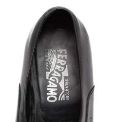 Salvatore Ferragamo Black Leather 'Mattia' Buckle Loafers Size 44