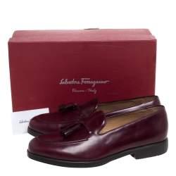 Salvatore Ferragamo Maroon Leather Loreno Tassel Loafers Size 44
