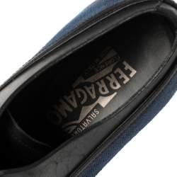 Salvatore Ferragamo Blue/Black Fabric and Leather Lace Up Oxfords Size 41