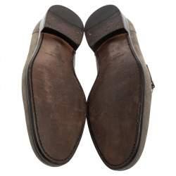 Salvatore Ferragamo Grey Suede Gancini Loafers Size 45