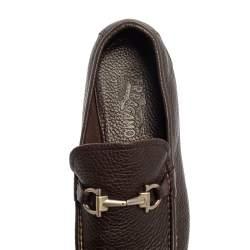 Salvatore Ferragamo Brown Leather Gancini Bit Loafers Size 43.5