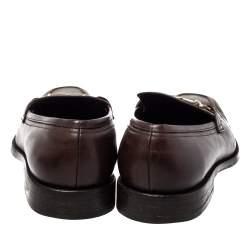 Salvatore Ferragamo Brown Leather Gancini Bit Loafers Size 42.5