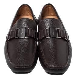Salvatore Ferragamo Brown Leather Driver Loafers Size 41.5