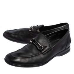 Salvatore Ferragamo Black Leather Gancini Slip On Loafers Size 44