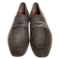 Santoni Grey Nubuck Leather Penny Slip On Loafers Size 40.5