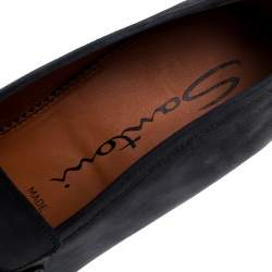 Santoni Blue Nubuck Leather Penny Slip On Loafers Size 44