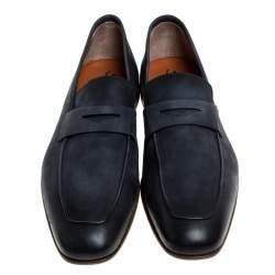 Santoni Blue Nubuck Leather Penny Slip On Loafers Size 40.5