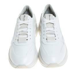 Santoni White Leather Low Top Sneakers Size 40.5