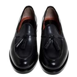Santoni Grey Leather Tassel Detail Slip On Loafers Size 40