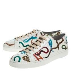 Santoni White Leather Snake Print Low Top Sneakers Size 40