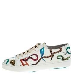 Santoni White Leather Snake Print Low Top Sneakers Size 42