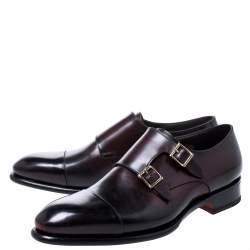 Santoni Burgundy Leather Double Buckle Derby Monk Size 41.5