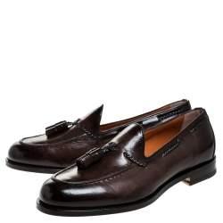 Santoni Brown Leather Tassel Detail Slip On Loafers Size 40