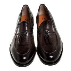 Santoni Brown Leather Tassel Detail Slip On Loafers Size 42.5