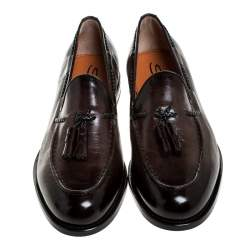 Santoni Brown Leather Tassel Detail Slip On Loafers Size 41.5