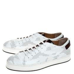 Santoni White Perforated Leather Low Top Sneakers Size 43