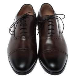 Santoni Brown Brogue Leather Lace Up Oxford Size 43