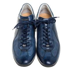 Santoni Ombre Blue Leather Low Top Sneakers Size 43.5