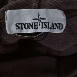 Stone Island Taupe Knit Reverse Logo Embroidered Hoodie M
