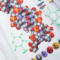 Supreme White DNA Print Cotton Crew Neck T-Shirt L