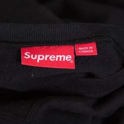 Supreme Black Cotton Chain Logo Embroidered Sweatshirt XL