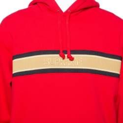 Supreme Red Cotton Stripe Logo Detail Hoodie XL