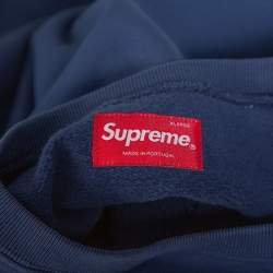 Supreme Navy Blue Dipped Cotton Crew Neck Sweatshirt XL