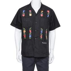 Supreme Black Cotton Blend Flowers Guayabera Shirt M